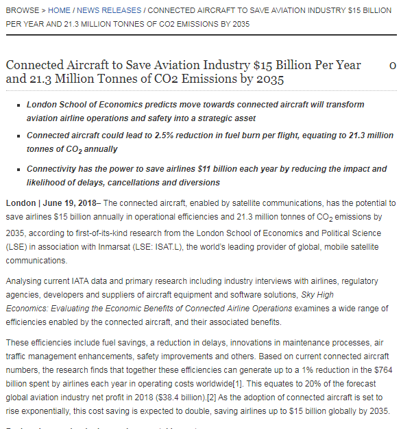Connected Aircraft to Save Aviation Industry $15 Billion Per Year and 21.3 Million Tonnes of CO2 Emissions by 2035