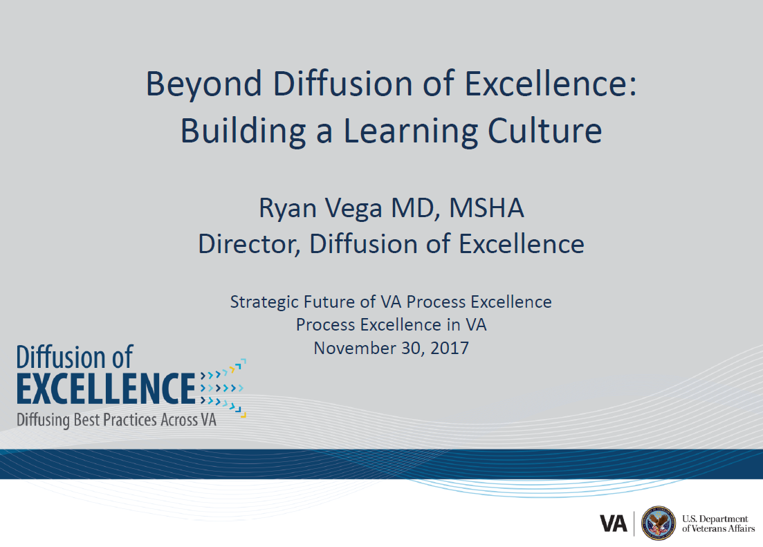 Beyond Diffusion of Excellence: Building a Learning Culture