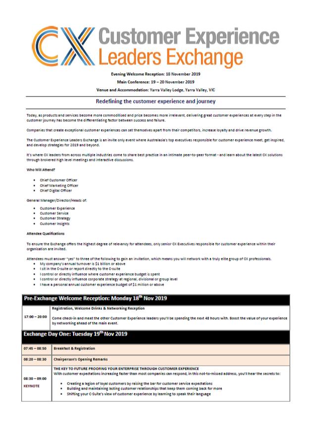 Draft Agenda - Customer Experience Leaders Exchange 2019