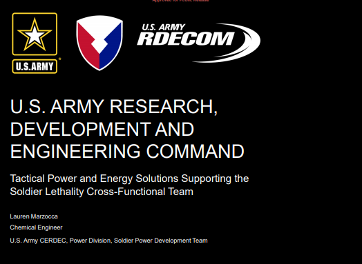 Tactical Power and Energy Solutions Supporting the Soldier Lethality Cross-Functional Team