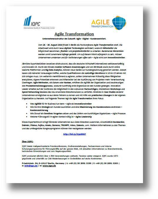 Laden Sie sich hier die aktuelle Pressemitteilung zu Agile Transformation kostenlos herunter