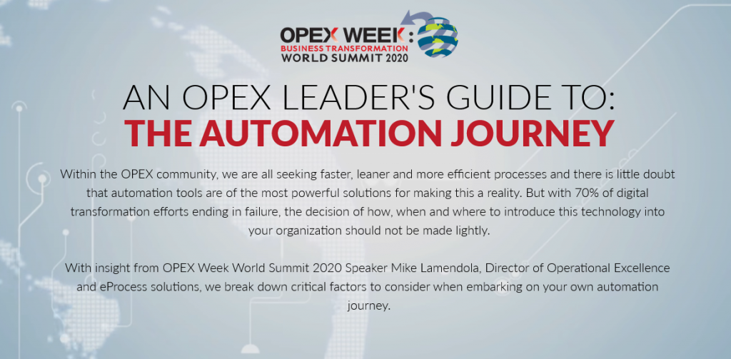 OPEX Orlando 2020 - spex - Automation Journey