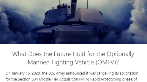 What Does the Future Hold for the Optionally Manned Fighting Vehicle (OMFV)?