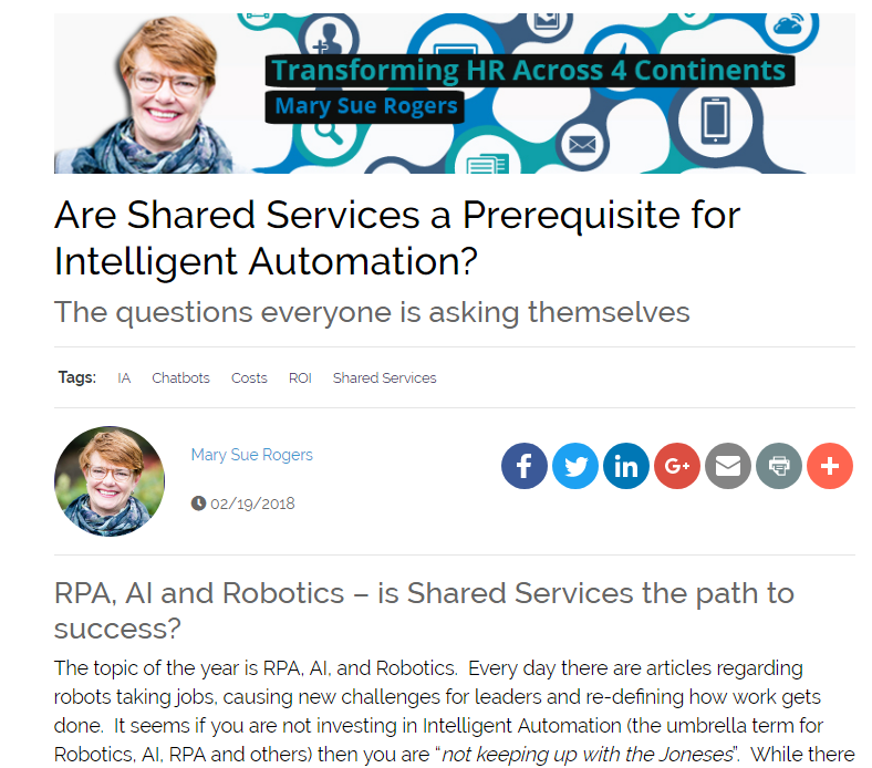 Are Shared Services a Prerequisite for Intelligent Automation?
