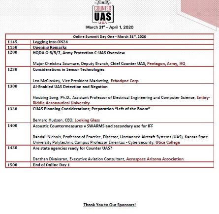 Counter UAS Webinar - Agenda
