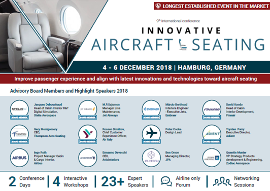 Partner Content: 9th International Confernce Innovative Aircraft Seating Agenda 2018
