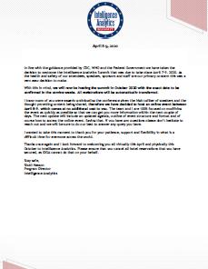 Intelligence Analytics Postponement Update