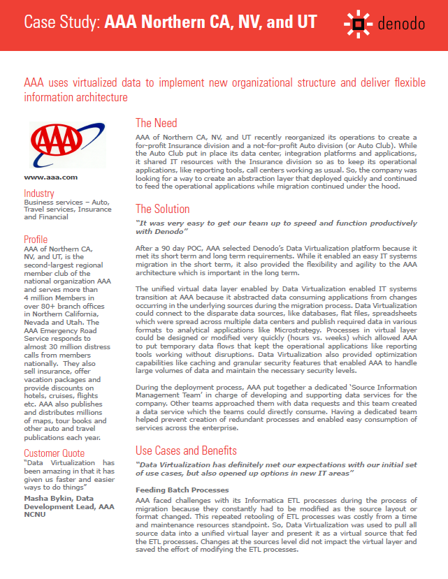 AAA Case Study: Using Virtualized Data to Implement New Organizational Structure & Deliver Flexible Information Architecture