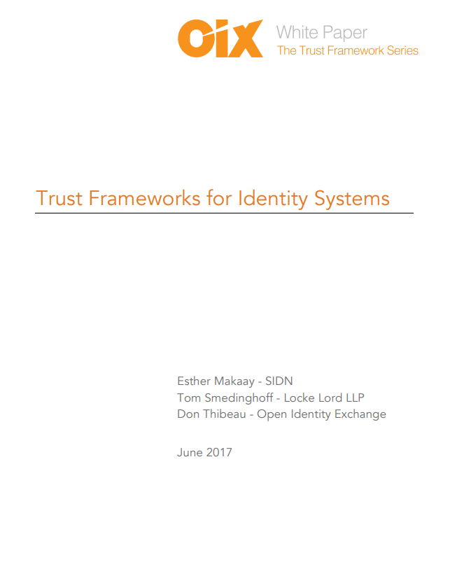 Trust Frameworks for Identity Systems
