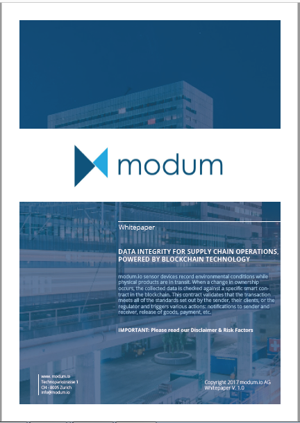 Modum Whitepaper: Data Integrity For Supply Chain Operations, Powered By Blockchain Technology