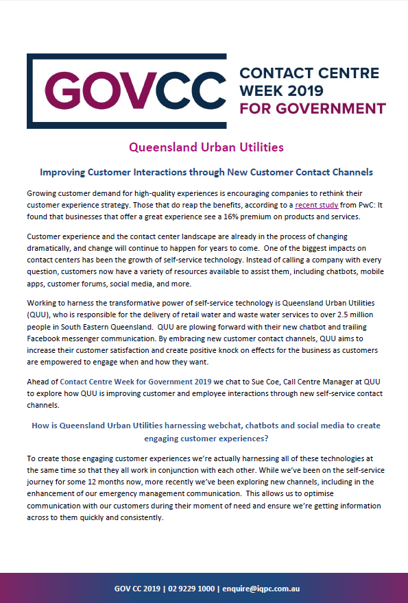 Queensland Urban Utilities - Improving Customer Interactions through New Customer Contact Channels
