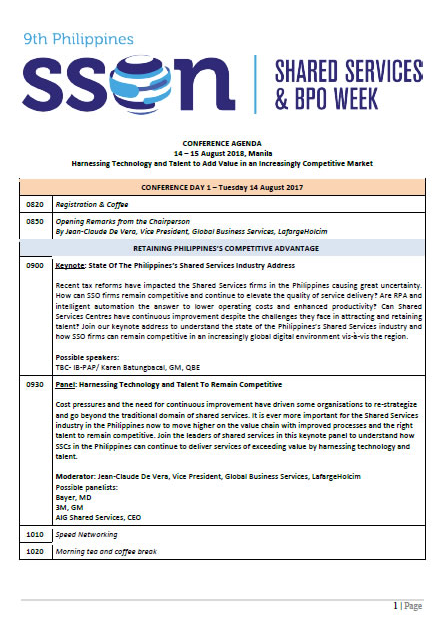 9th Philippines Shared Services and BPO Week - Preliminary Agenda
