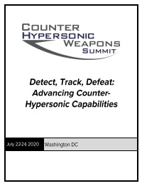 Counter Hypersonic Weapons Preliminary Agenda