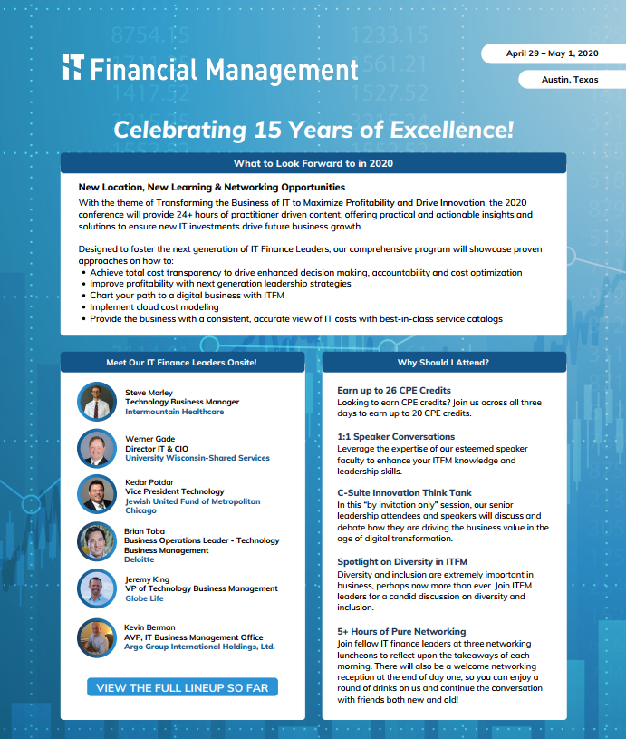 Your First Look at the 15th Annual IT Financial Management Conference
