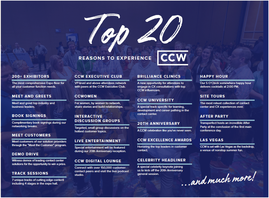 Top 20 Reasons to Attend Customer Contact Week 2019