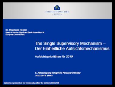 Präsentation: Zukünftigen Aufsichtsprioritäten der Europäischen Zentralbank