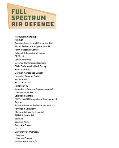 Full Spectrum Air Defence International - 2019 Attendee List