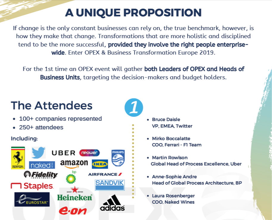 OPEX & Business Transformation Europe 2019 - spex - infographics