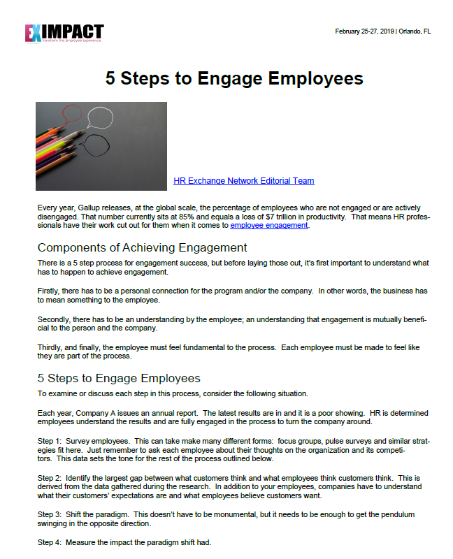 5 Steps to Engage Employees