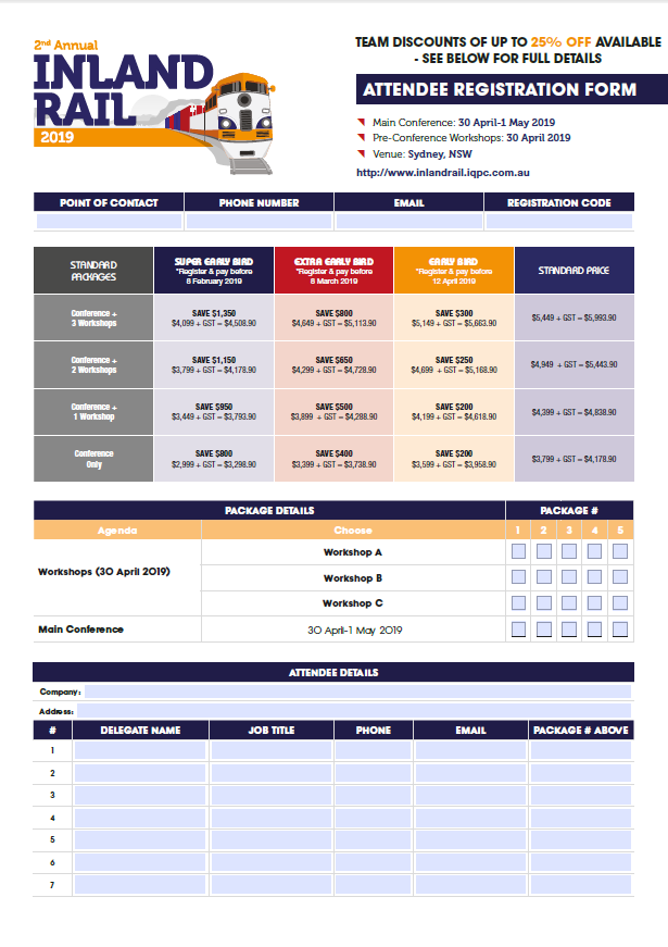 Fast Track Your Attendance - Inland Rail 2019