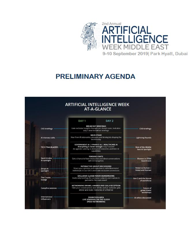 2nd Annual Artificial Intelligence Week Middle East - Preliminary Agenda