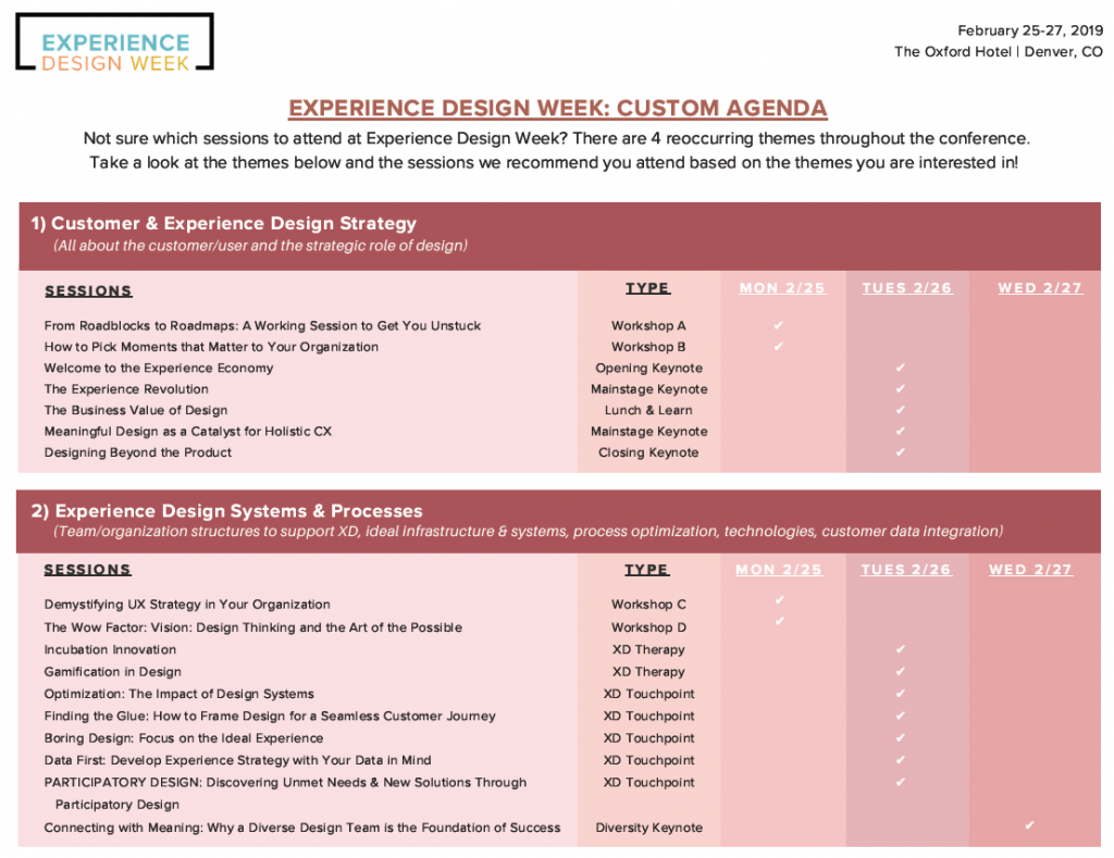 Experience Design Week: Custom Agenda