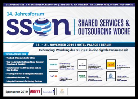 Lesen Sie hier die aktuelle Agenda des 14. Jahresforums der  Shared Services & Outsourcing Woche 2019