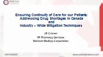 Addressing Drug Shortages in Canada and Industry