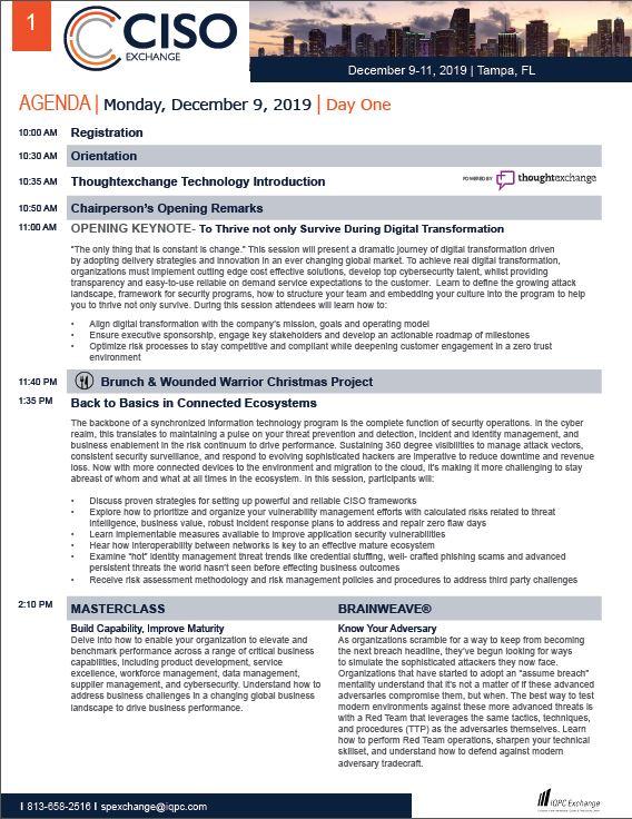 2019 Cyber Security Exchange Agenda Brochure
