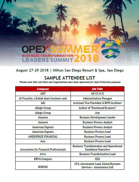 OPEX Summer 2018 - Sample Attendee List