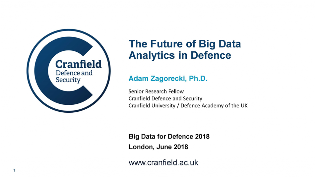 Past presentation: The Future of Big Data Analytics in Defence