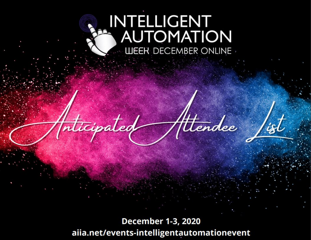 Intelligent Automation Week December Anticipated Attendee List