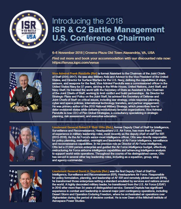 Introducing the 2018 ISR & C2 Battle Management U.S. Conference Chairmen