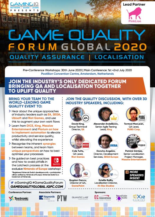 Game Quality Forum 2020 Sponsorship Agenda