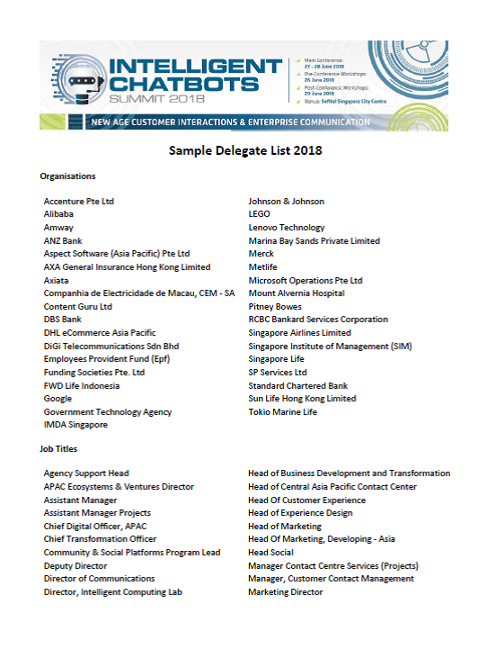 Intelligent Chatbots 2018 Attendee List