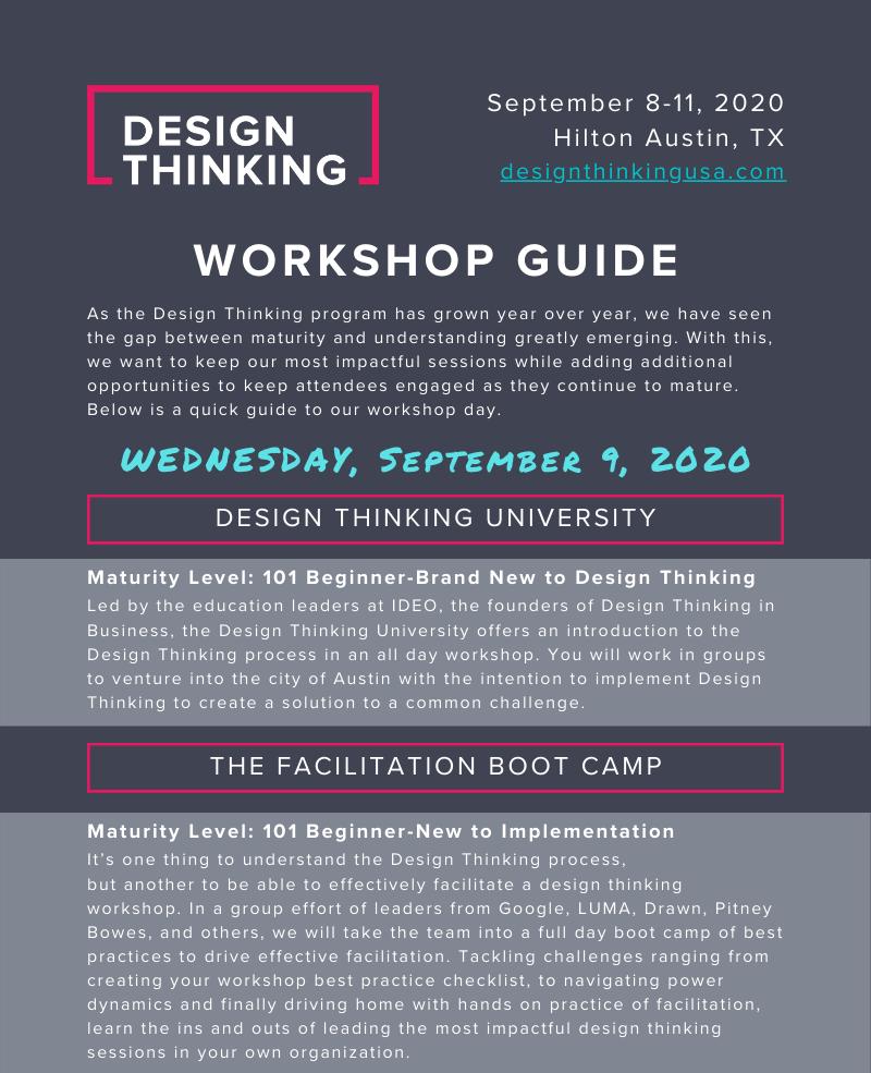 Design Thinking 2020 Workshop Infographic
