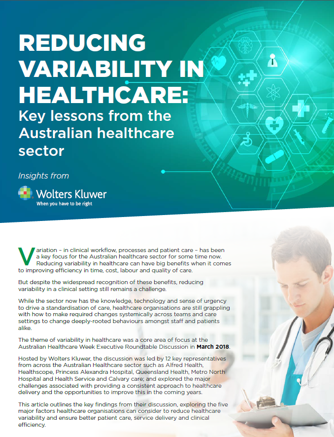 Reducing Variability in Healthcare: Key Lessions from the Australian Healthcare Sector
