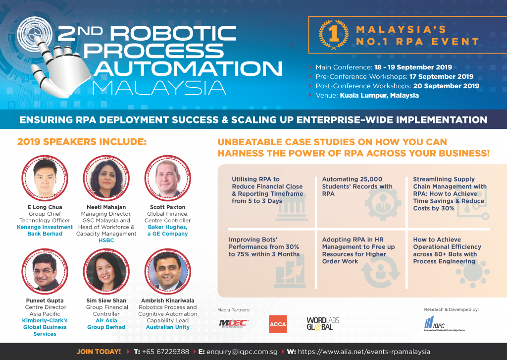 View the Full Agenda - 2nd Robotic Process Automation Malaysia Summit 2019