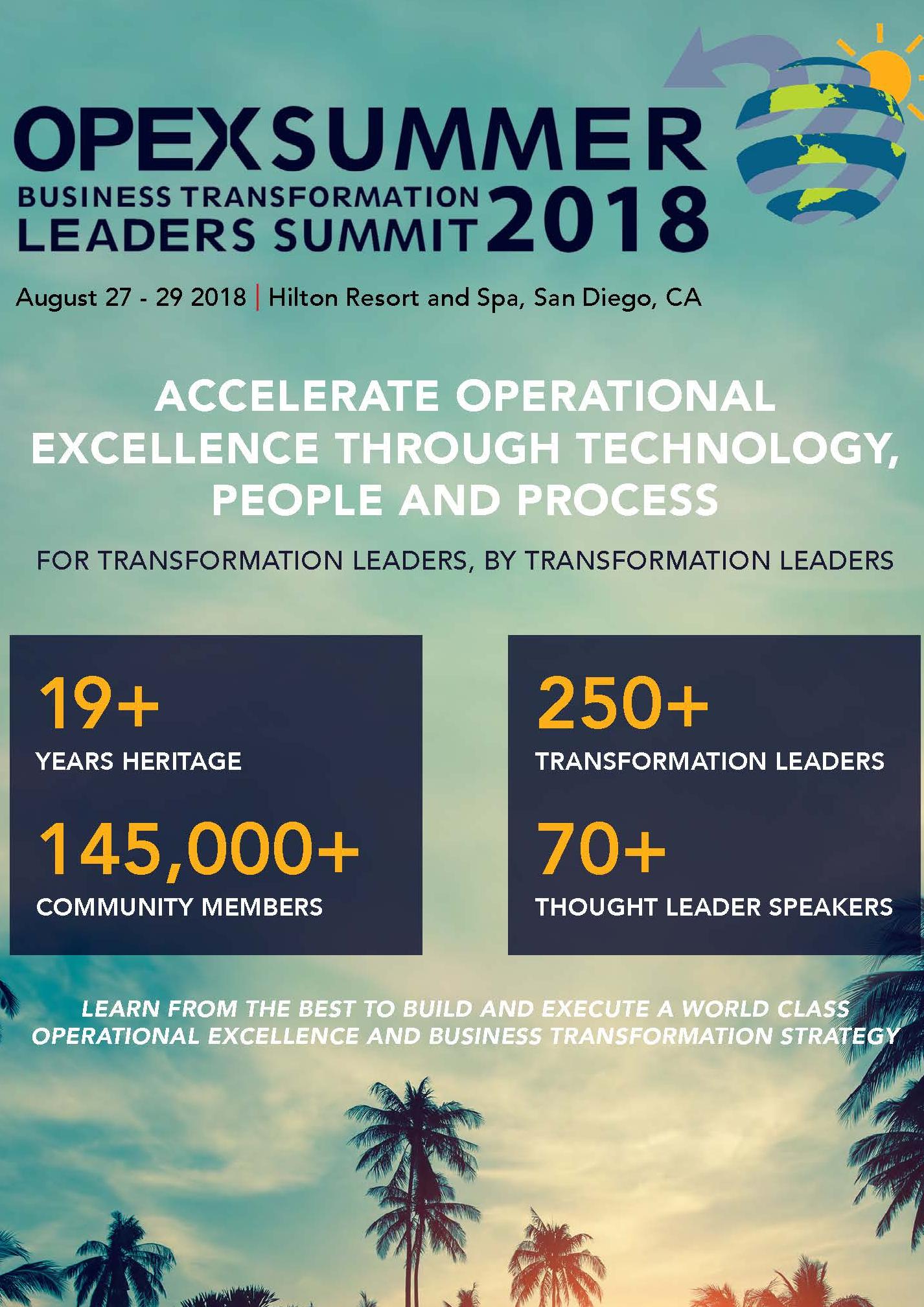 OPEX Summer 2018 Pre Agenda