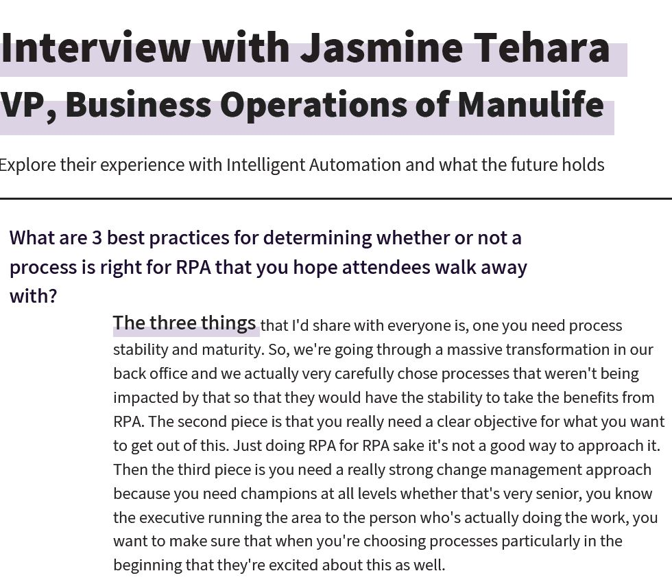 Manulife on Intelligent Automation Implementation