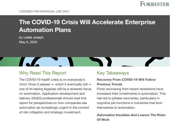 The COVID-19 Crisis Will Accelerate Enterprise Automation Plans