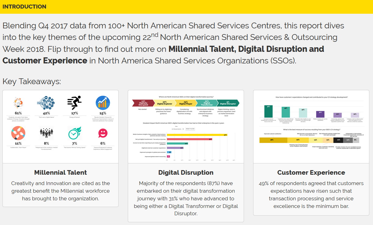 Shared Services in North America 2018: Millennial Talent, Digital Disruption & Customer Experience