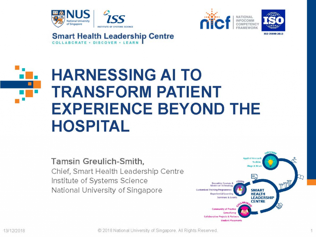 Past Presentation 2018 - Harnessing AI To Transform Patient Experience Beyond The Hospital
