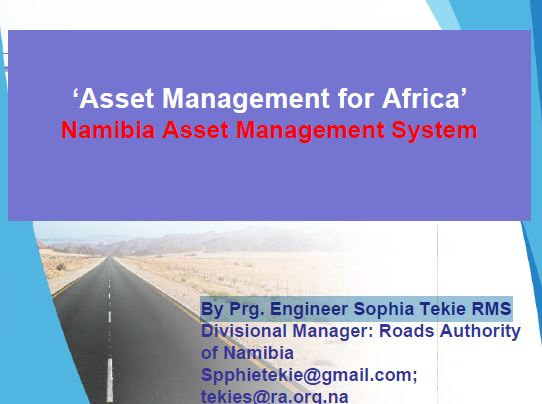 Asset management for Africa by Prg. Engineer Sophia Tekie RMS