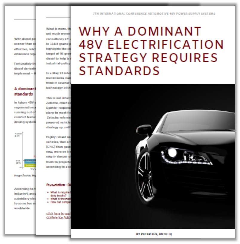 Article and Topics on why a dominant 48V electrification strategy requires standards
