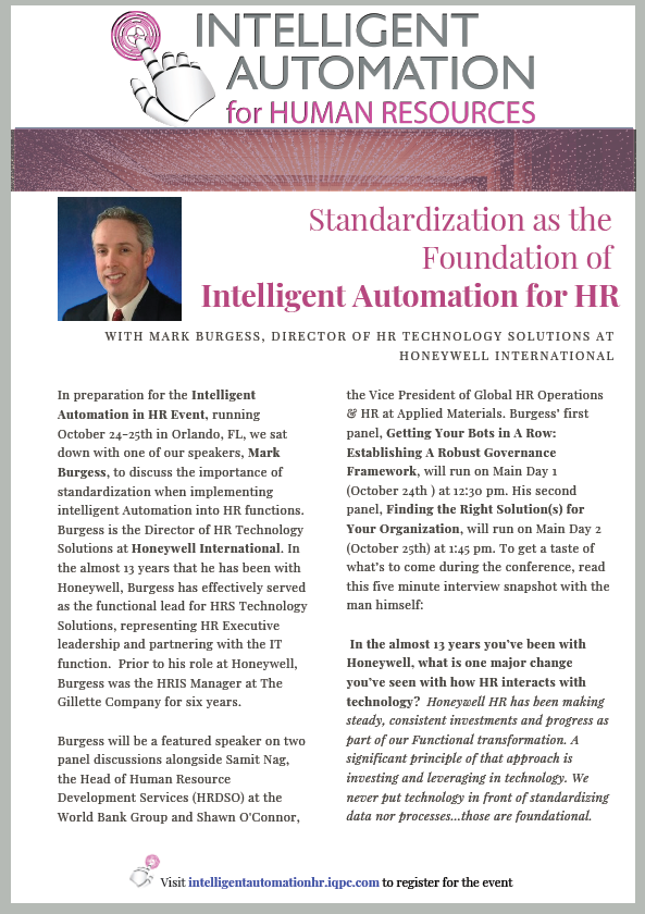 Standardization as the Foundation of Intelligent Automation for HR