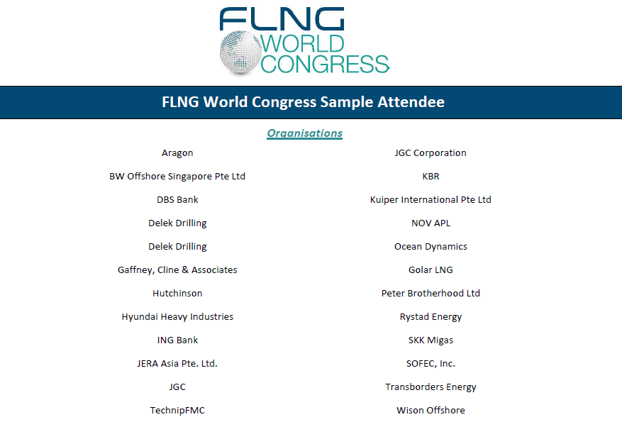 FLNG World Congress 2019 attendee list