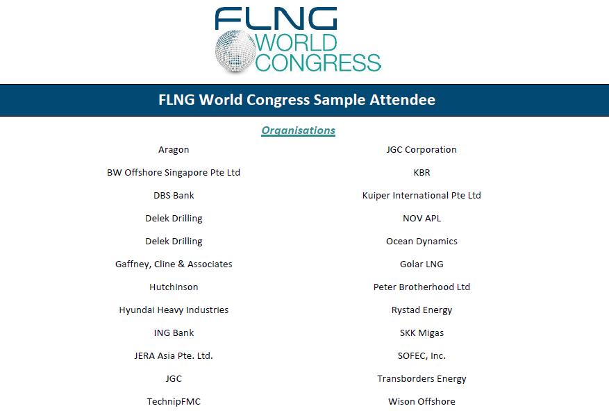 FLNG World Congress 2019 attendee list
