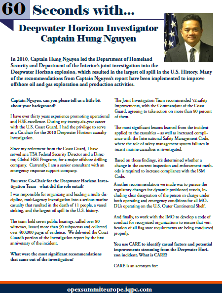 60 seconds with Deepwater Horizon Investigator Captain Hung Nguyen