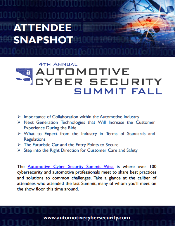 Automotive Cyber Security Silicon Valley - Current Attendee Snapshot